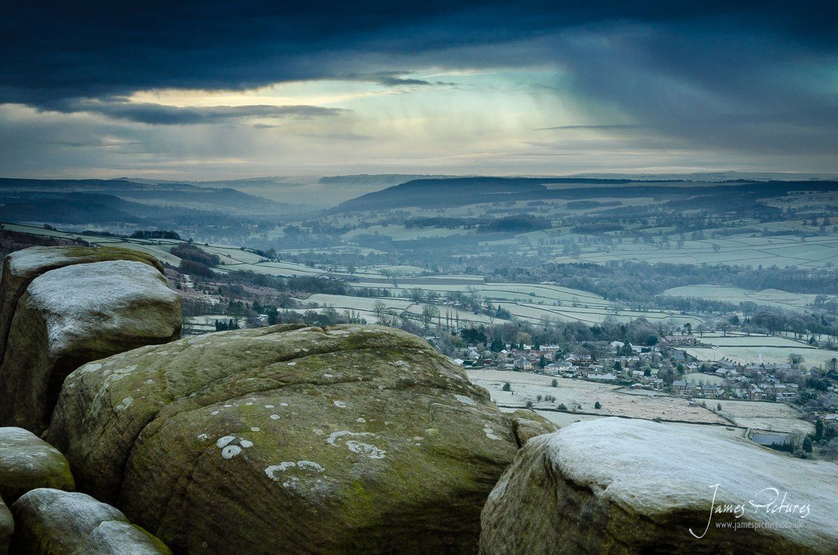 Looking down from a cold Curbar Edge