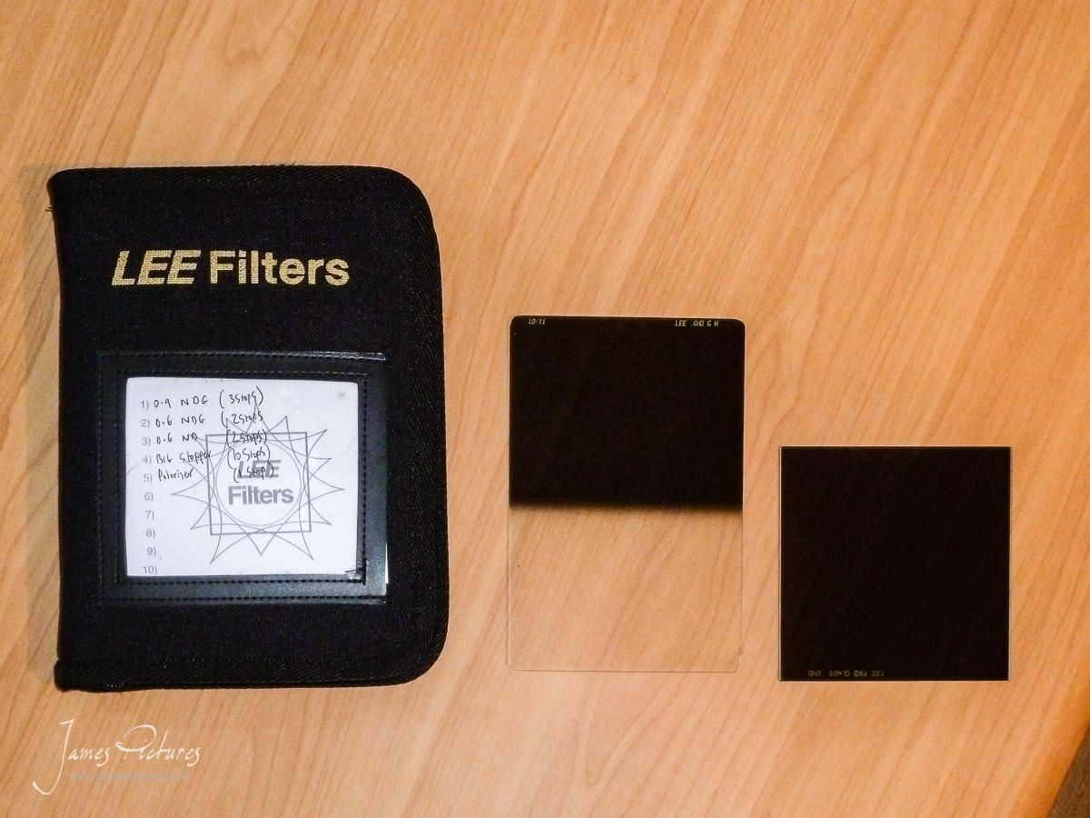 The Lee Filter Holder with a 150x100 and 100x100 Filter side by side comparison.