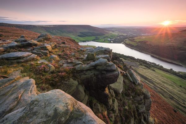 the view from Dove Stone Edge on Saddleworth Moor at sunset