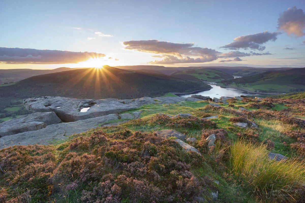 Bamford Edge At Sunset