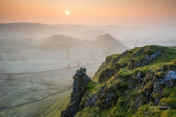 The view from Chrome Hill at dawn with an inversion in the Dove Valley.