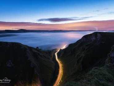 Winnats Pass Mist And Light Trails