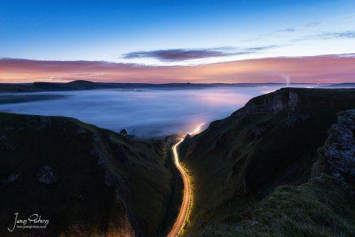 Winnats Pass Mist And Light Trails
