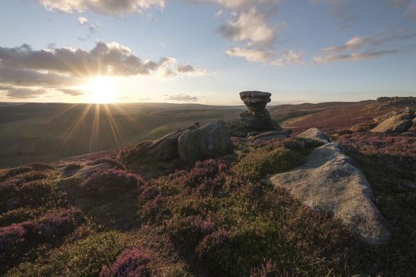 the view from the salt cellar on derwent edge at sunset