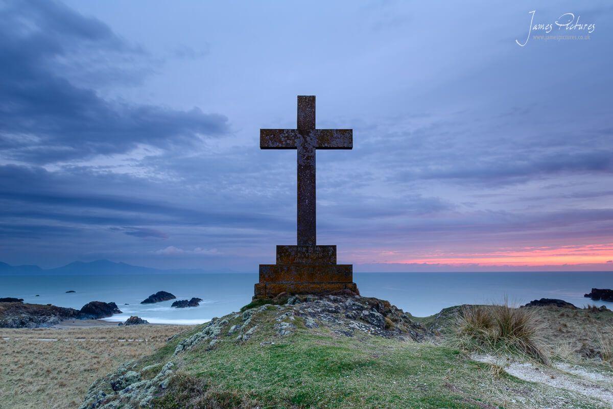 Dwynwens Cross - Llanddwyn Island has 2 large crosses on them, I took this one at dusk.