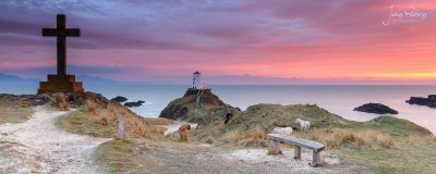 A stunning scene of the Llanddwyn Island at sunset, with the wild horses roaming around