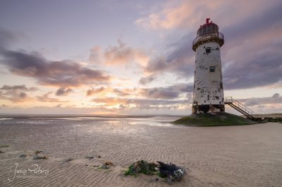 Point of Ayr Lighthouse can be found on Talacre Beach, Flintshire, North Wales.