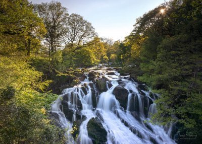 The beautiful and picturesque Swallow Falls Waterfall in North Wales near Betws-y-Coed