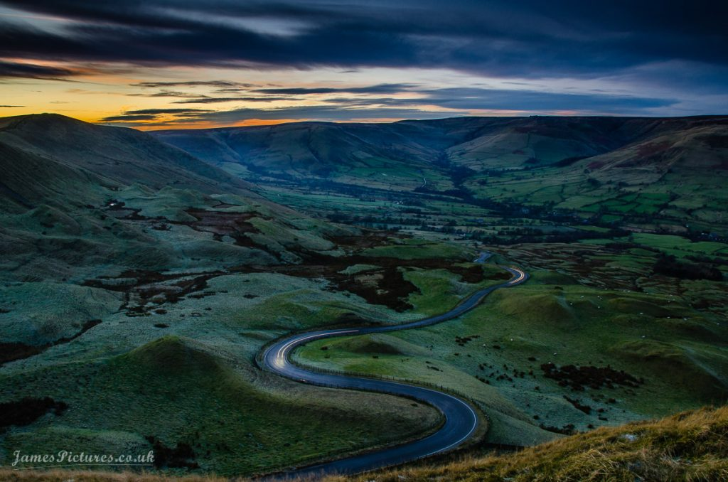 Sunset at Mam Tor in the Peak District