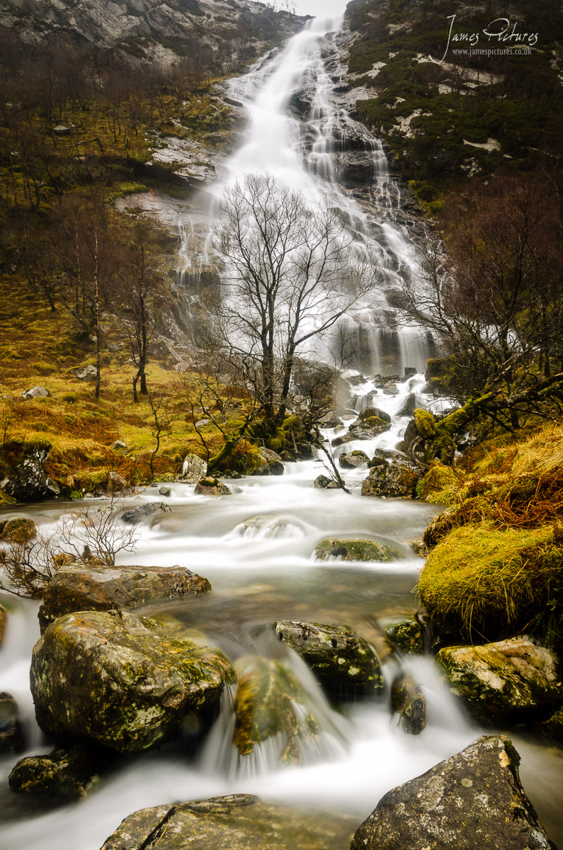 The spectacular waterfall known variously as An Steall Bàn, Steall Waterfall or Steall Falls. It is Scotland's second highest waterfall with a single drop of 120 metres.