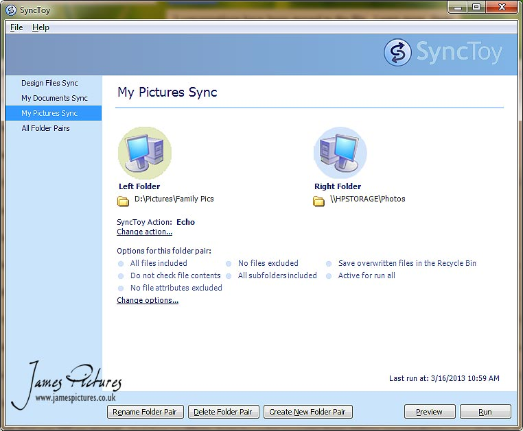 Sync Toy 2.1 is a free application that synchronizes files and folders between locations.