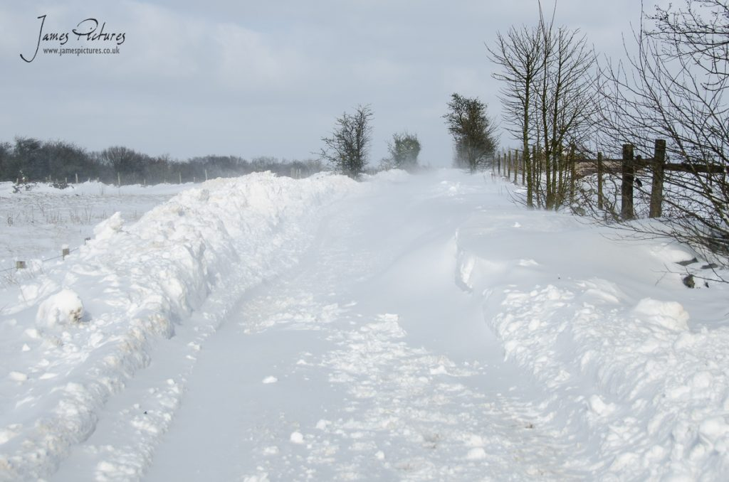 This is the entrance to the Peak District, blocked by snow drifts.