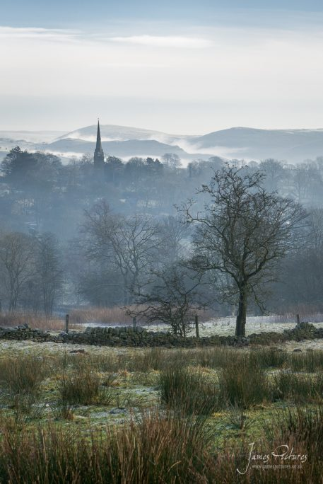 St Bartholomew church in Butterton, captured on a misty morning