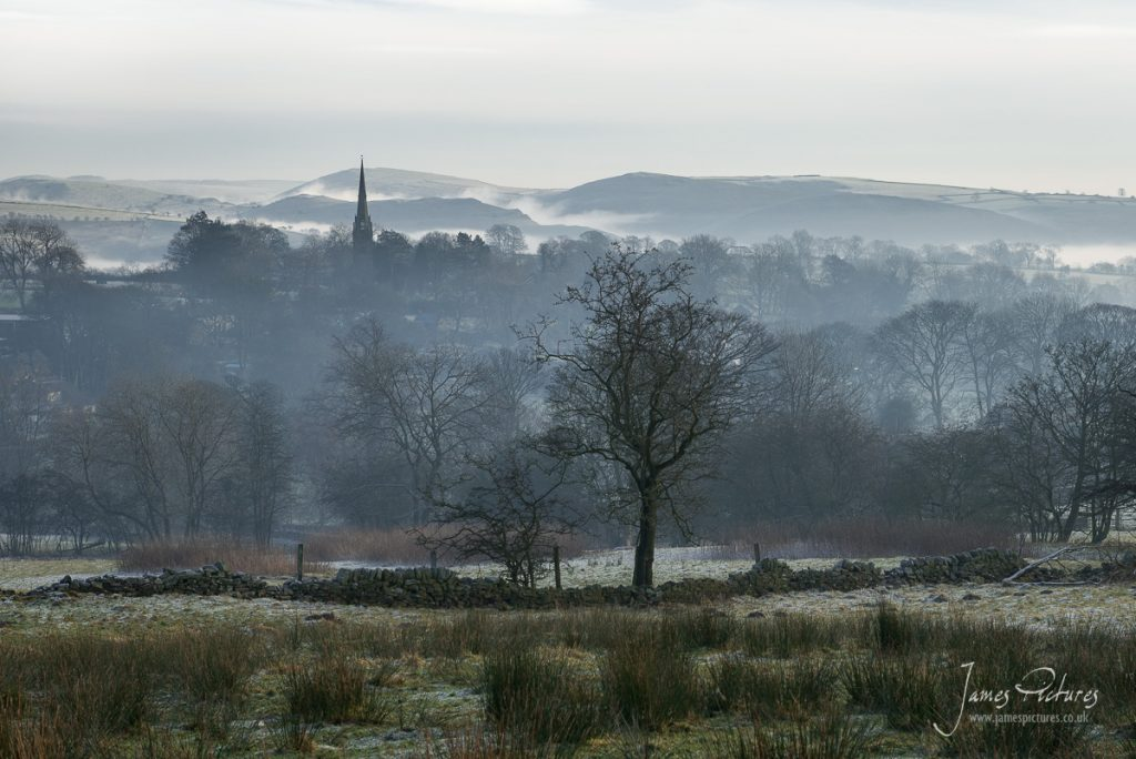 Butterton Village in the Staffordshire Moorlands, in misty weather conditions
