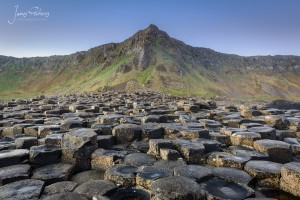 Looking back at some of the 40,000 interlocking basalt columns at Giants Causeway with