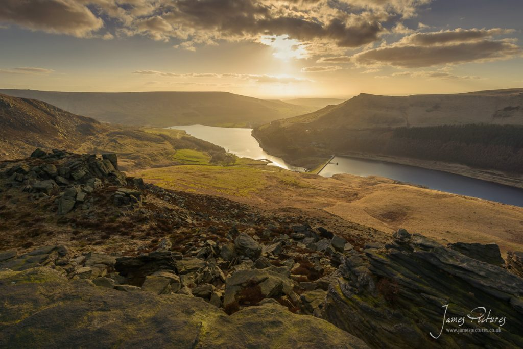 Overlooking Dove Stone Reservoir from Ashway Rocks, a wonderful outcrop of gritstone rocks to admire the views from.