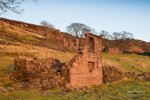 3 old gritstone buildings are now the remains of Roachend Farm in The Roaches in near to Leek, Staffordshire.