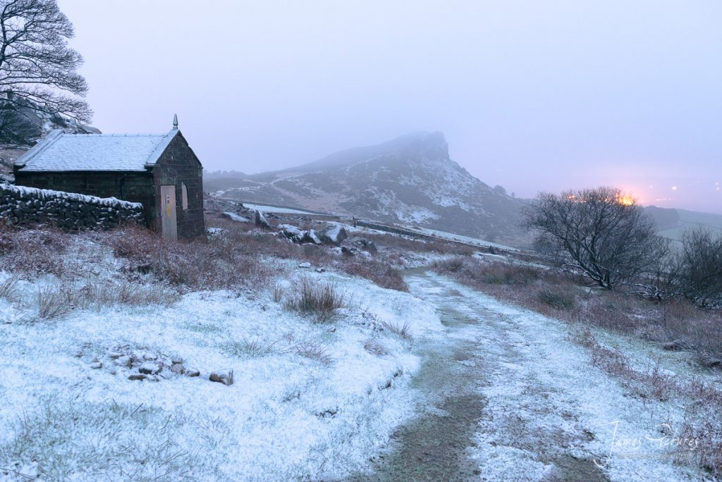 Hen Cloud covered in Snow and Mist